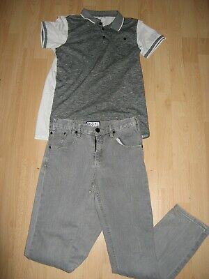 Worn Once Boys Pale Grey Skinny Leg & Short Sleeve Polo T-Shirt Jeans Age 11-12