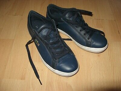Hardly Worn Boys Mens Blue Lacoste Canvas Plimsolls Fashion Pumps 8 Uk 42 Eu