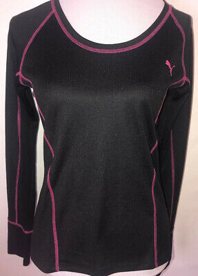 Women's Puma Sport Lifestyle  Long Sleeve Dry Cell Shirt Small (S) BlacK W/ Pink