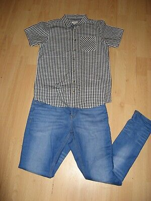 Worn Once Boys Pale Blue Next Skinny Stretch Jeans & Checked Shirt Bundle Age 12
