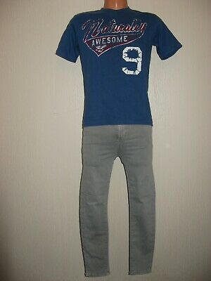 Worn Once Boys Burgundy A & F Polo T-Shirt & Fade Classic Jeans Bundle Age 13-14