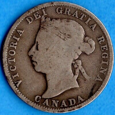 Canada 1887 25 Cents Twenty Five Cent Silver Coin - Key Date - Good