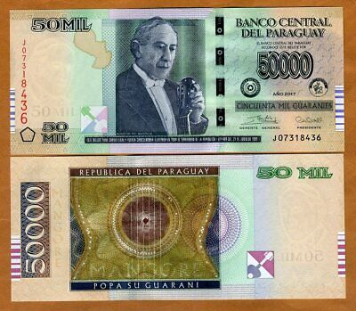 Paraguay, 50,000 (50000) Guaranies 2017 (2019) P-New, Upgraded, Serie J UNC