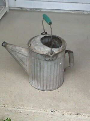 Antique Original Ribbed Side Watering Can/Wooden Handle Galvanized No Leaks 6Q