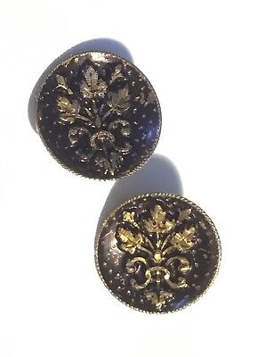 Antique Victorian Button Pair, Black Enamel and Embossed Brass