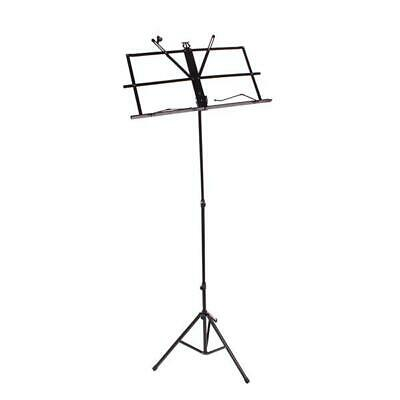 Glarry Handy Portable Adjustable Folding Music Stand with Bag Black Heavy duty