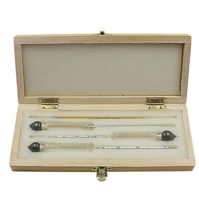3 X 0-100% Hydrometer Alcoholmeter Tester Set Alcohol Meter + Thermometer