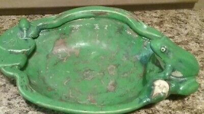 Weller Pottery Coppertone Frog And Water Lily Bowl