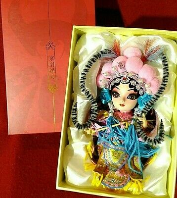 Chinese Peking Opera Make up Doll Traditional Character Exquisite Design Pink