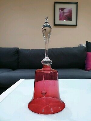 Large Antique Victorian Cranberry Glass Wedding Bell c1870