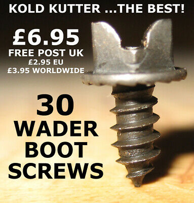 "Kold Kutter Wader Boot Studs - The Best! - 30 screws size 3/8"" 10mm FREE POST UK"
