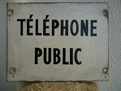Public Telephone,Vintage French sign,handpainted,rusty iron plaque.