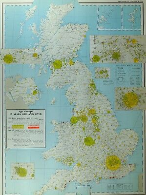 VINTAGE LARGE MAP of BRITAIN 65 YEARS & OVER TOTAL POPULATION LONDON LIVERPOOL