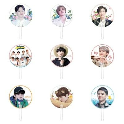 Portable Transparent Round MINI Kpop Hand Holder Fan EXO Plastic PVC Gift #EV