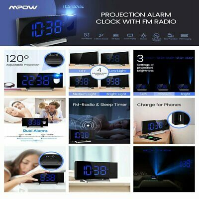 Mpow Projector Projection Digital Time Weather Snooze Alarm Clock LED Backlight