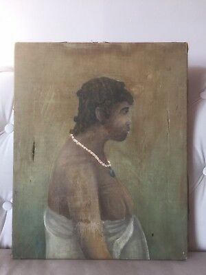Antique 19C African Tribal Art Naive Primitive Portrait French Colonial Painting