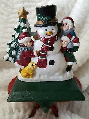 Vintage Cast Iron Snowman Stocking Hanger Christmas Holder  Star East Heavy