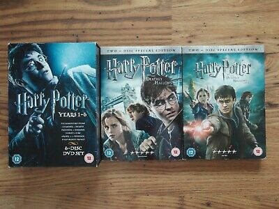 Harry Potter 1 - 8 Complete 8 Film Series Collection 10 Dvd Set