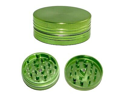 Green 50 mm 2 Part Compact Grinder Anodised Aluminium Metal Herb Spice - HQ