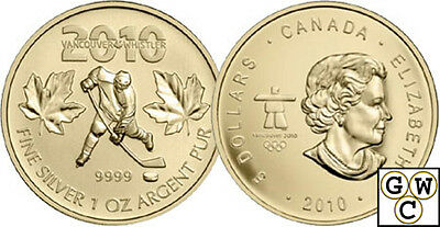 2010 Gold-Plated Olympic Hockey 1oz Silver Maple Leaf .9999 Fine *No Tax (12709)