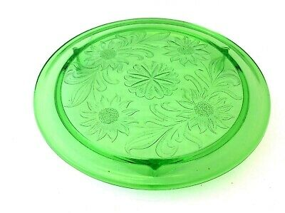 Green Depression Glass Pie Plate Cake Stand Three Legged Floral Design Dish