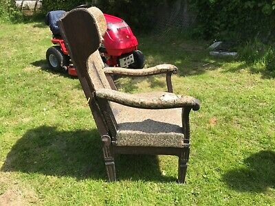 RARE FOLDING ANTIQUE 17th Century JACOBEAN CARVED OAK CHAIR, ARMCHAIR OR BED