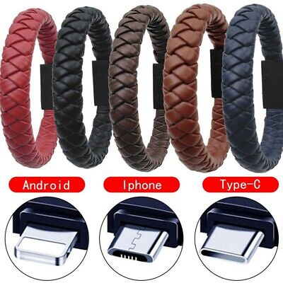 Leather Braid Bracelet Band Micro USB Sync Data Charger Cable for Android Ph #EV
