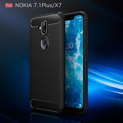 Luxury Brushed Carbon Fiber Soft Rubber Case Cover For Nokia 7.1 Plus X7 3.2 4.2