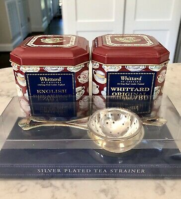 Whittard of Chelsea, Two Tins Of Tea & Strainer Silver plated ENGLAND, NEW