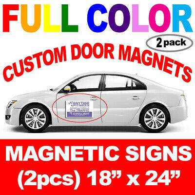 "Pair (2) 18""x24"" Custom Car Magnets Vehicle Magnetic Auto Truck Door Signs"