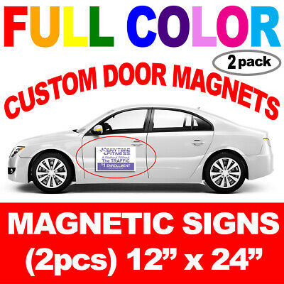 "Pair (2) 12""x24"" Custom Car Magnets Vehicle Magnetic Auto Truck Door Signs"