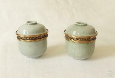 Good Pair Of Antique 19Th C French Crackle Glaze Cache Pots Au Vase Etrusque