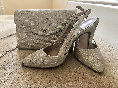 Ladies Gold/champagne Sparkly Evening Shoes And Bag From Next, Size 6