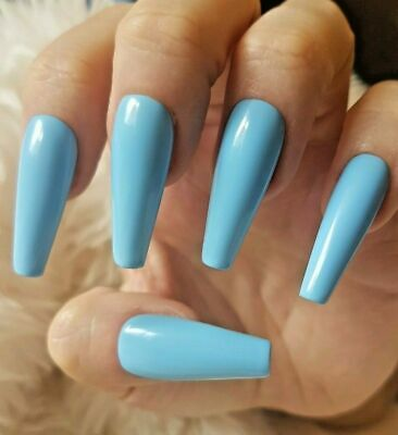 Light Blue Tapered XLong Coffin False Nails, Glossy. 20 Hand Painted. Press On.