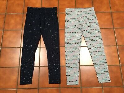 Girls 18 Legging Lot Justice Navy Blue Glitter & Arrow Pattern EUC