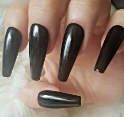 Black Tapered XLong Coffin Nails, Glossy. 20 Hand Painted Nails. Press on Nails.