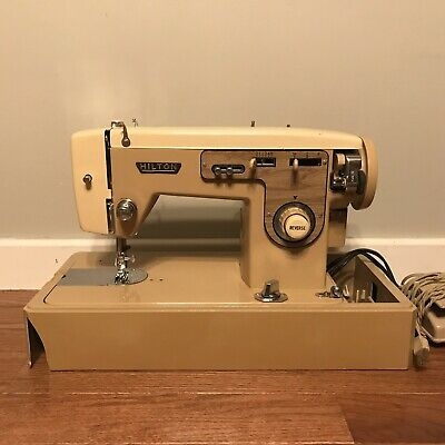 Vintage HILTON Stitcher Model 466 Sewing Machine With Foot Pedal & Case (H6