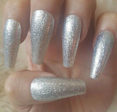 20 Hand Painted False Nails. Silver Glitter. Press on nails. Pick length & shape