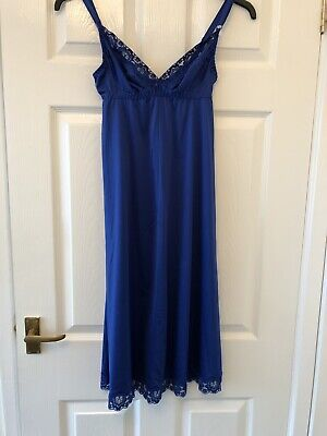 Vintage Contessa Blue Silky Nylon Full Slip With Beautiful Lace Detail. Size 36B