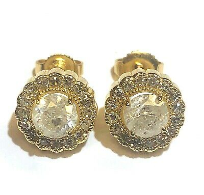 14k yellow gold 1.90ct I3 SI2 H halo round diamond stud cluster earrings 3.8g