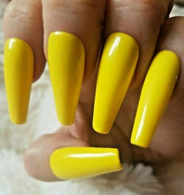 Yellow Tapered XLong Coffin False Nails, Glossy. 20 Hand Painted Nails. Press on