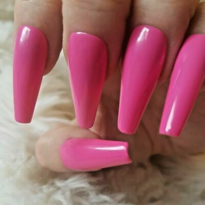 Hot Pink Tapered XLong Coffin False Nails, Glossy. 20 Hand Painted. Press on.