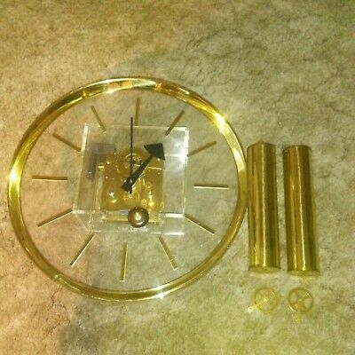 Vintage Howard Miller Acrylic and Brass Wall Clock
