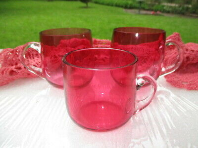 3 Antique Cranberry Glass Punch Espresso Cups Mama Bear Papa Bear Baby Bear Size