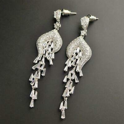 Shiny Silver Tone Cascading Tapered Baguette Sparkling CZ Cluster Long Earrings