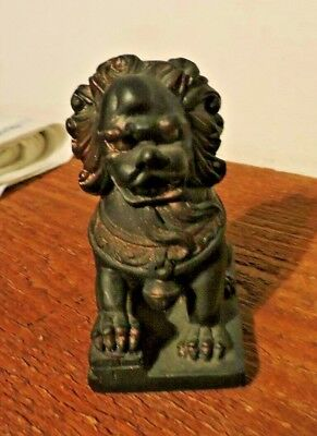 Vintage Small Chinese Carved Dark Wood? Foo Dog 4 1/2 inches tall