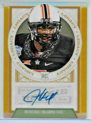2019 Panini Legacy Football Justice Hill Gold Prism Refractor Rookie Auto 49/50
