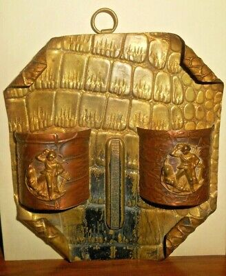 Antique Brass & Copper Hanging Wall Match Safe,Holder With Soldier & Gun   Nr