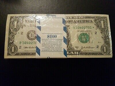 2006 Chicago 1$ Consecutive Star Notes BEP Strap Replacement Notes UNC G2
