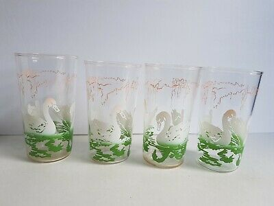 Swanky Swig Swans Lot of 4 Tumbler Glass Drinking Cup Lot Vintage